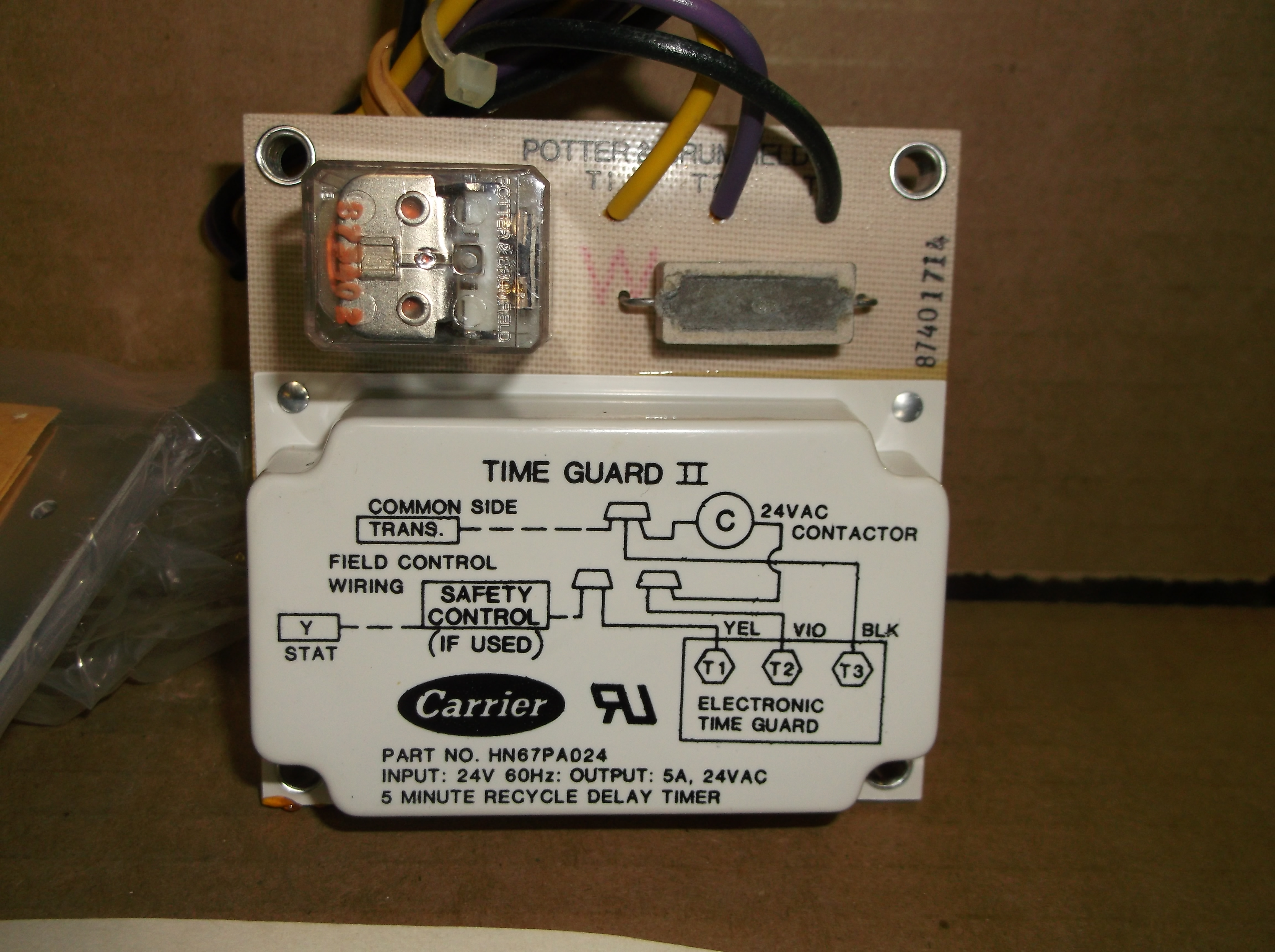 """CARRIER HN67PA024  DELAY TIME GUARD TIMER 24V 60HZ 5 MINUTE DELAY /""""USED/"""""""