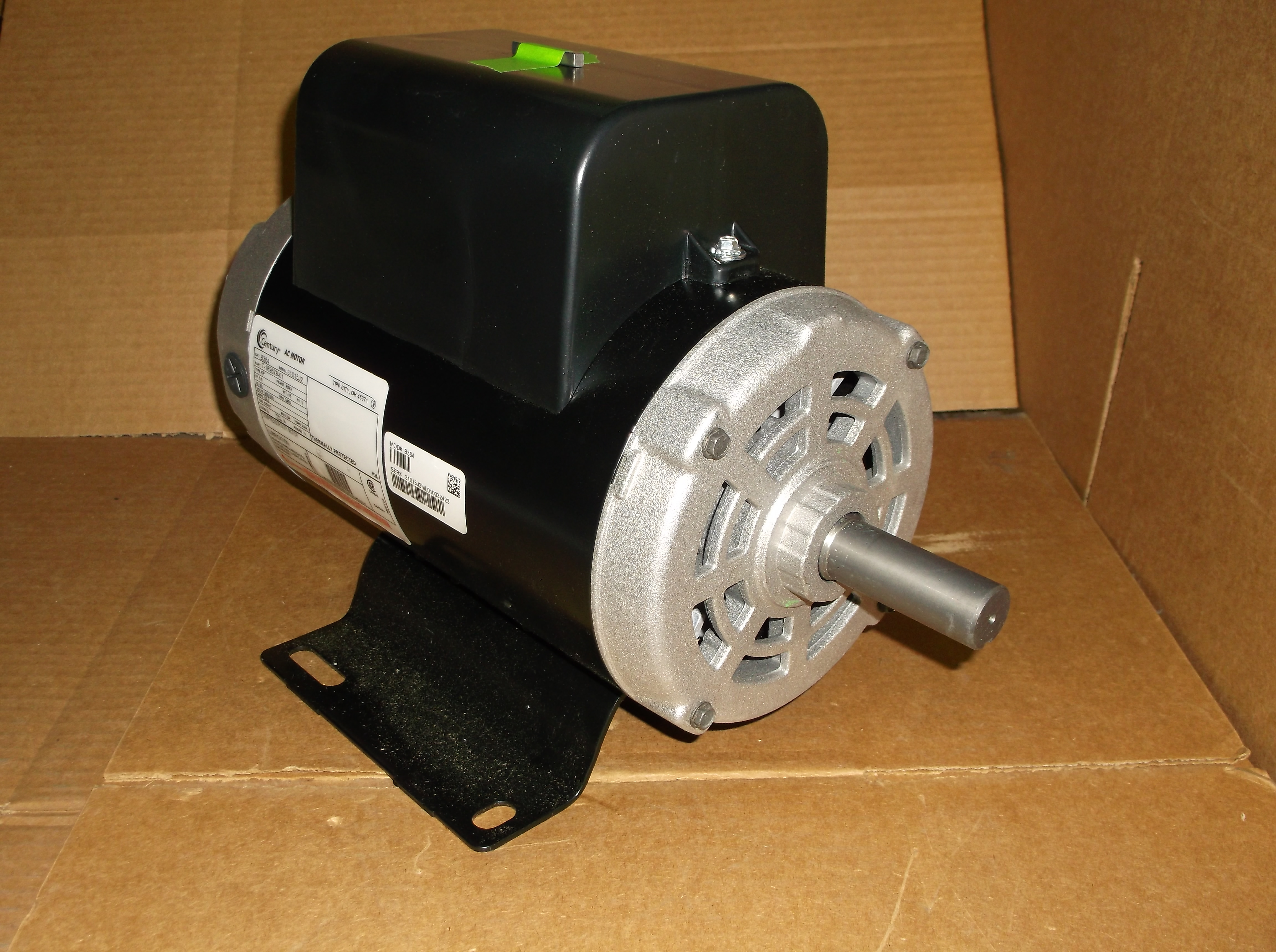 5 HP CAPACITOR START/RUN CONTINUOUS LIGHT DUTY COUNTER CLOCKWISE SHAFT END  ELECTRIC AIR COMPRESSOR MOTOR, 208-230/60/1 RPM:3450/1-SPEED